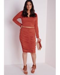 Missguided Plus Size Ruched Front Midi Skirt Rust orange - Lyst
