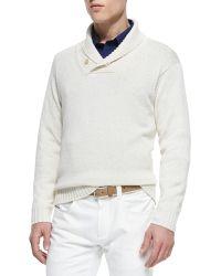 Loro Piana Shawl-Collar Pullover Sweater - Lyst