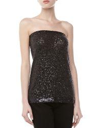 Donna Karan New York Sequined Strapless Top - Lyst