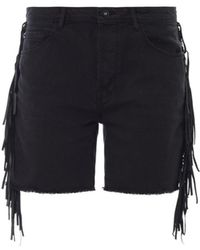 Each x Other Shaman Leather-Fringe Denim Shorts - Lyst