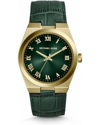 Michael Kors Midsize Green Leather Channing Threehand Watch - Lyst