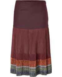 Etro Plisse Skirt with Embroidery - Lyst