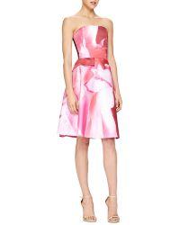 Carolina Herrera Peony-Print Strapless Cocktail Dress - Lyst