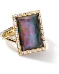 Ippolita - 18k Gold Gelato Medium Black Shell Baguette Ring With Diamonds - Lyst