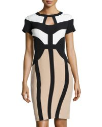 Chetta B Colorblock Stretchcrepe Sheath Dress - Lyst