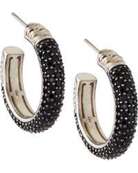 Slane - Cabaret Black Spinel Hoop Earrings - Lyst