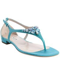 Miu Miu Aqua Nylon Thong Strap Jewel Studded Sandals - Lyst
