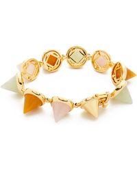 Eddie Borgo Gemstone Cone Bracelet - Rose Quartz/Yellow Jade/New - Lyst