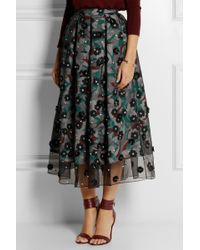 Holly Fulton - Embellished Silk-Organza And Crepe De Chine Skirt - Lyst