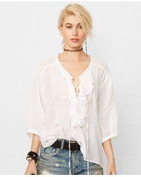 Denim & Supply Ralph Lauren Ruffled Lace-Up Top - Lyst