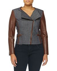 Michael Kors Denim Moto Jacket W/ Leather - Lyst