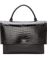 Givenchy Black Leather Croc Embossed Tote - Lyst