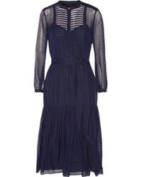 Burberry Prorsum Striped Wool and Silk-blend Midi Dress - Lyst