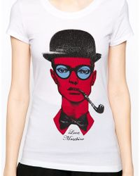 Love Moschino Man with Smoking Pipe and Embellished Hat Sleeve T-shirt - Lyst