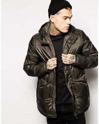 Diesel Wikesh Padded Coat With Mohican Hood black - Lyst