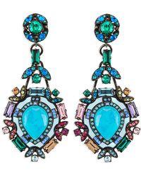 Lanvin - Multicolour Crystal Clip Earrings - Lyst