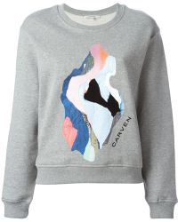 Carven Printed Cotton Sweatshirt - Lyst