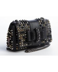 Christian Louboutin Black Studded Leather Sweet Charity Shoulder Bag - Lyst