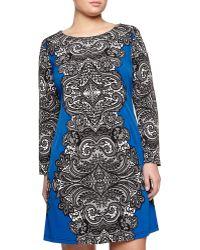 Melissa Masse Lace-Print 3/4-Sleeve Dress - Lyst