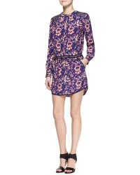Veronica Beard Printed Solidtrim Keyhole Shirtdress - Lyst
