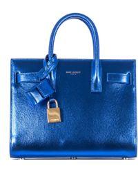 Saint Laurent Blue Laminated Effect Leather Sac De Jour Nano Bag - Lyst