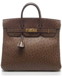 Hermès | Pre-owned Chocolate Brown Ostrich Birkin Hac 32cm Bag | Lyst