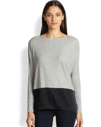 Alice + Olivia Cotton Stretch Silk Combo Top - Lyst