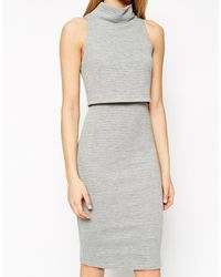 Asos Pencil Dress With Shell Top In Rib - Lyst