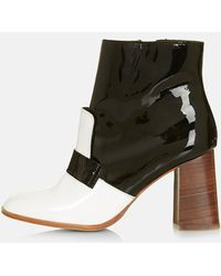 Topshop 'Pop Message' Leather Ankle Boots - Lyst