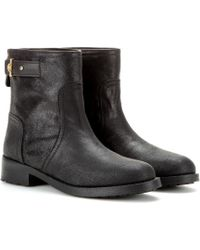 Tory Burch Selena Distressed Leather Biker Boots - Lyst