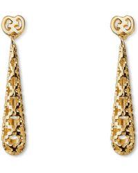 Gucci Diamantissima 18ct Yellow-gold Drop Earrings - Lyst