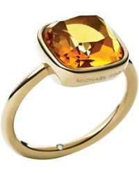 Michael Kors Citrine Gold-Tone Ring - Lyst