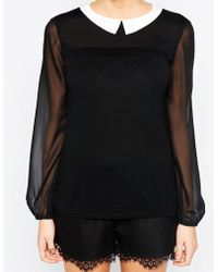 Oasis | Contrast Collar Blouse | Lyst