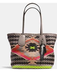 Coach Taxi Tote In Woven Leather - Lyst