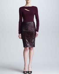 Donna Karan New York Foldover Pullon Sequin Skirt - Lyst