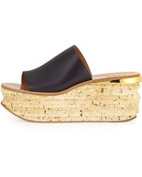 Chloé Cork Slide Wedge Sandal blue - Lyst