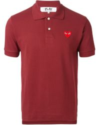 Play Comme des Garçons - Embroidered Heart Polo Shirt - Lyst