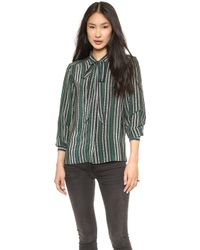 Sea Striped Tie Blouse Green - Lyst