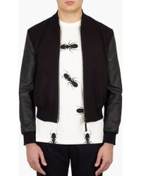 Paul Smith | Navy Cashmere And Leather Bomber Jacket | Lyst