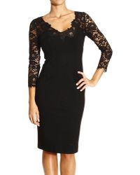 Ermanno Scervino Dress Long Sleeve V in Jersey and Lace - Lyst