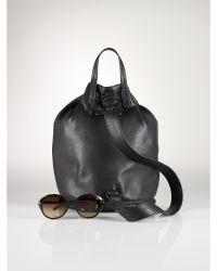 Ralph Lauren Black Fringed-Drawstring Backpack - Lyst