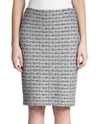 St. John Metallic Tweed Pencil Skirt - Lyst