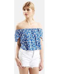 Topshop Floral Print Off The Shoulder Top blue - Lyst