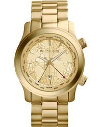 Michael Kors Womens Runway Gmt Goldtone Stainless Steel Bracelet Watch 44mm - Lyst