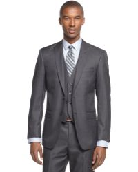 Calvin Klein X Grey Solid Vested Peak Lapel Slim-fit Suit - Lyst