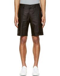 Calvin Klein Black Glossy Linen Bermuda Shorts - Lyst
