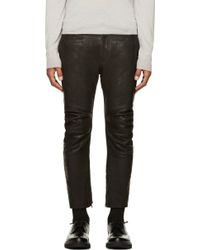 Haider Ackermann Black Leather Textured Trousers - Lyst