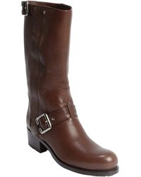 Dior Brown Leather Bucklestrap Detail Boots - Lyst