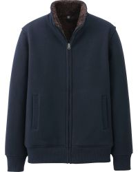 Uniqlo Men Sweat Faux Shearling Full Zip Jacket - Lyst