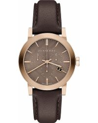 Burberry Goldtoned and Leather Watch  - Lyst